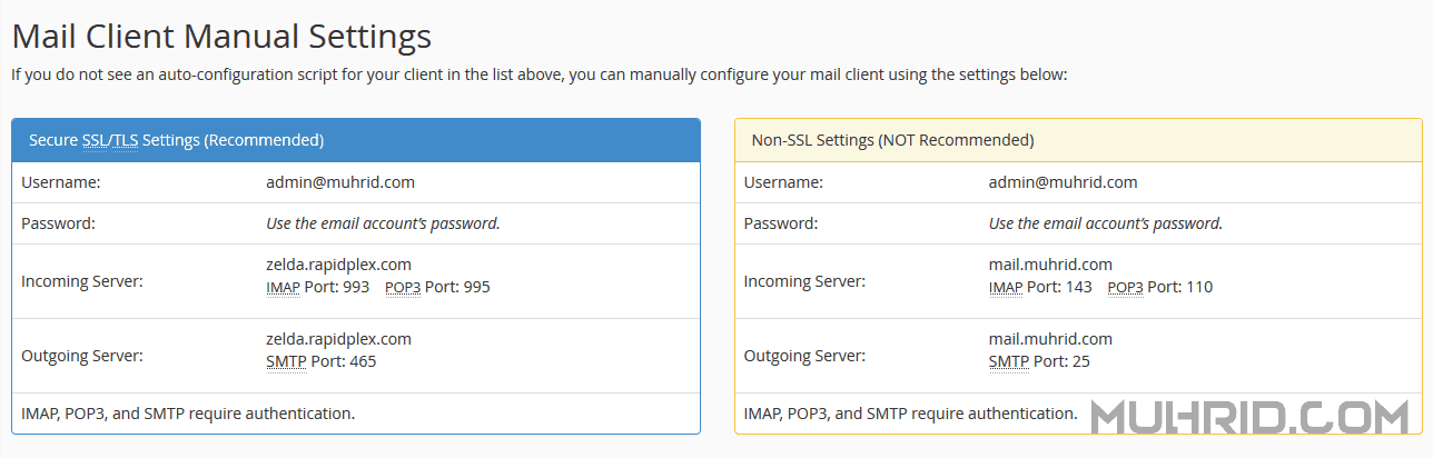 Mail Client Manual Settings