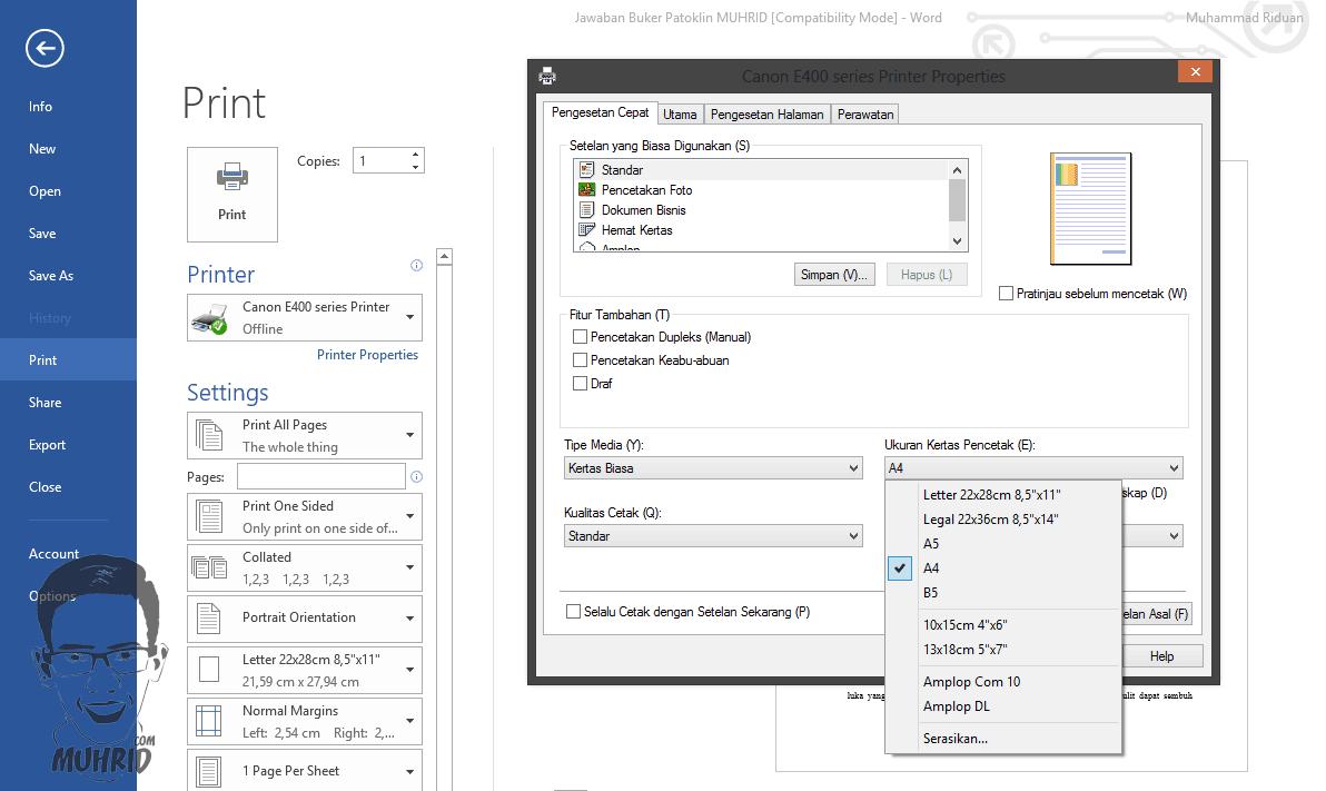 Pengaturan Ukuran Kertas Cara Mengatasi Ukuran Print Out Tidak Sesuai dengan Tampilan Microsoft Office Word