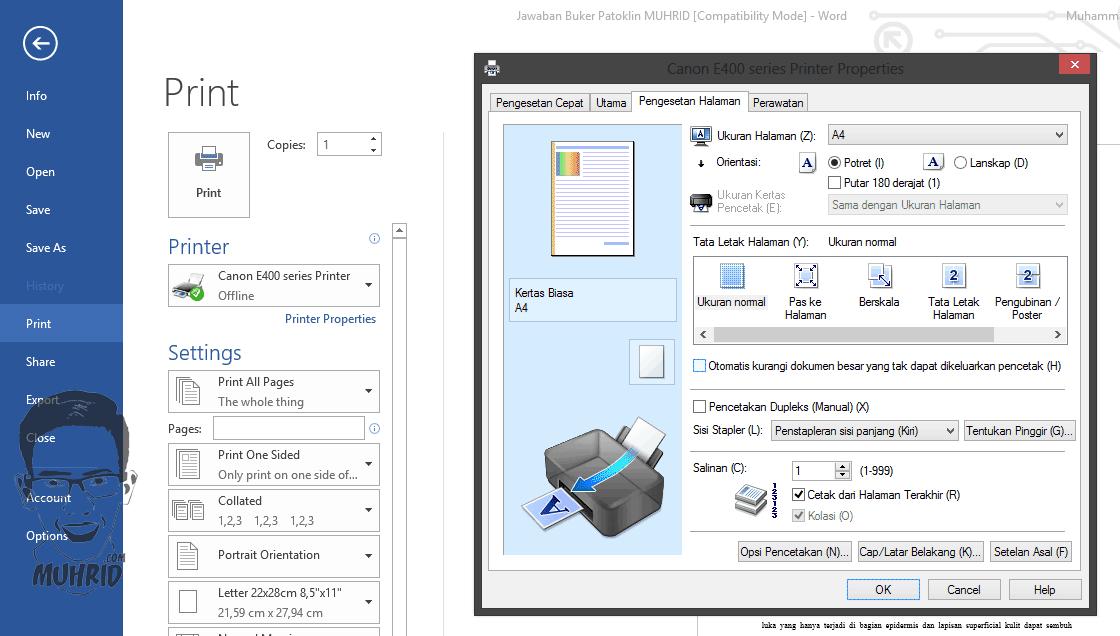 Pengesetan Halaman Cara Mengatasi Ukuran Print Out Tidak Sesuai dengan Tampilan Microsoft Office Word