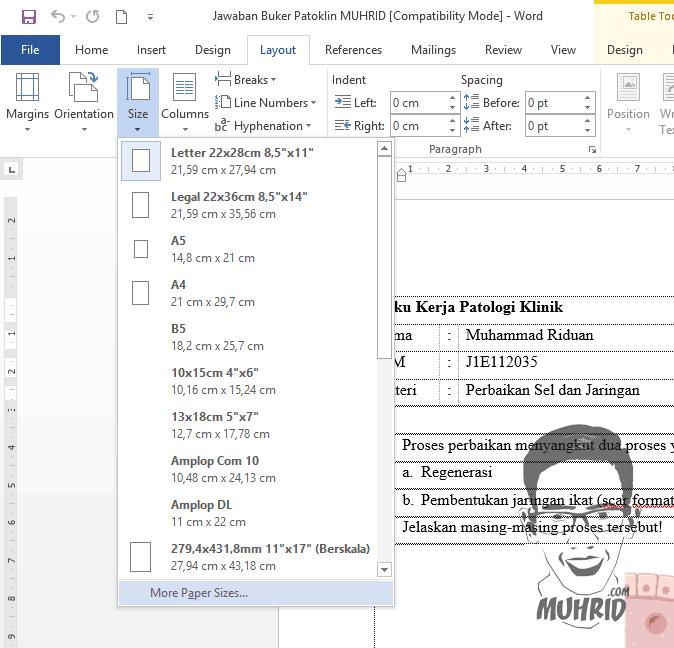 Penyesuaian Ukuran Kertas Cara Mengatasi Ukuran Print Out Tidak Sesuai dengan Tampilan Microsoft Office Word