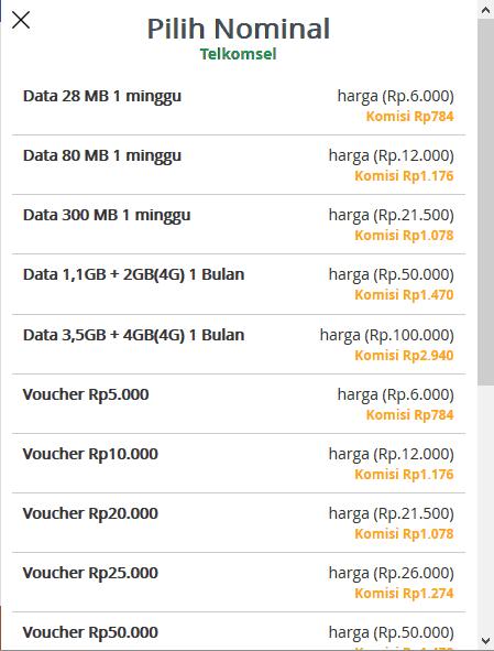 Nominal Voucher Pulsa Telkomsel
