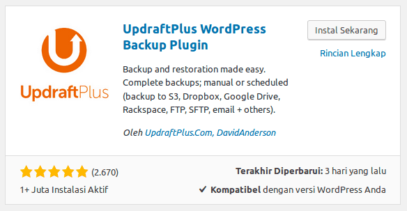 Cara Backup WordPress - UpdraftPlus WordPress Backup Plugin